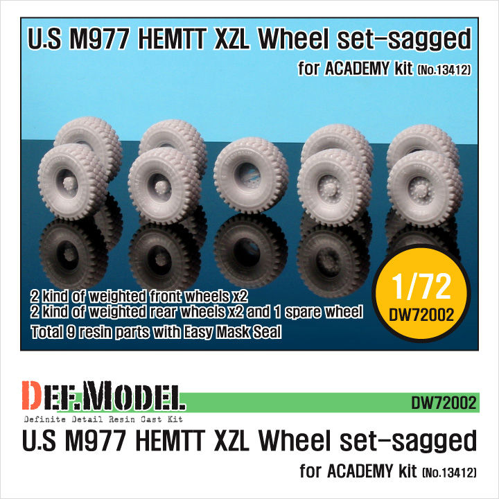 1/72 M977 HEMTT XZL Sagged Wheel Set (for Academy), DEF Model, DW72002 - Bild 1
