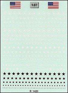 1420 USA-Sterne 1:87 Decals WK II